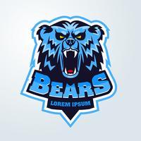 Emblème de mascotte avec logo tête d'ours vecteur