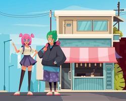 composition d'adolescents japonais urbains vecteur