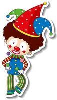 modèle d'autocollant avec personnage de dessin animé de clown heureux vecteur