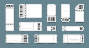 ensemble de maquettes de billets à code-barres vecteur