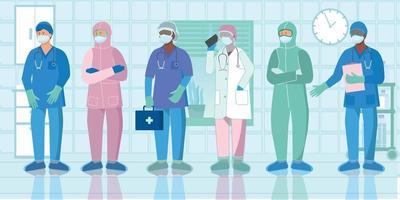 uniforme de protection infirmière plat vecteur