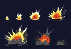 série d'animation sur l'explosion d'une bombe vecteur