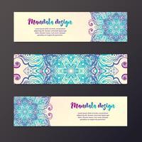 Bannière de mandala, style indien. vecteur