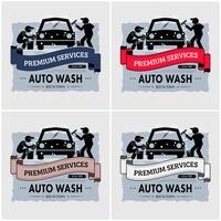 Création de logo de lavage de voiture. vecteur