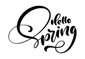 Calligraphie lettrage phrase Bonjour printemps