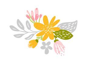 Fleur plate isolée de vecteur sur fond blanc