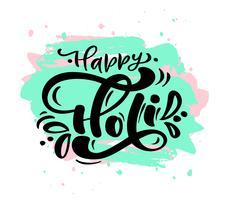 Happy Holi festival du printemps de couleurs voeux calligraphie lettrage phrase vecteur