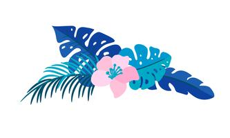 Été de vecteur isolé bouquet de fleurs plates tropical monstera