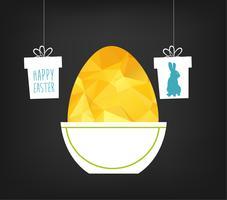 Carte de voeux joyeuses Pâques dans le style triangle low poly.