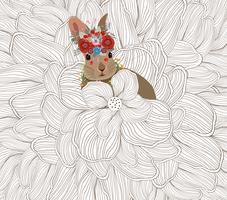 Joyeuses Pâques avec cadre photo de lapin floral doodle