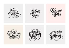 Ensemble de phrases de calligraphie printanière vecteur
