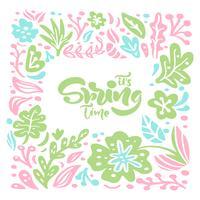 Cadre floral vectoriel pour carte de voeux avec texte manuscrit son printemps