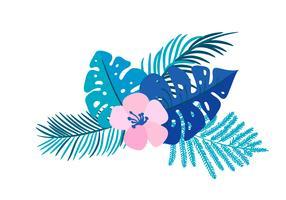 Été de vecteur isolé monstera de fleur tropicale plat bouquet bouquet sur isolé