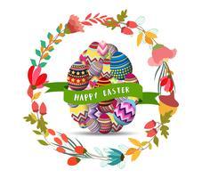 Joyeuses Pâques avec carte de voeux de fleur oeuf et guirlande