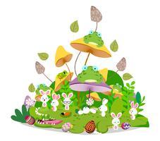 Joyeuses Pâques printemps vert avec couple de lapin et oeufs