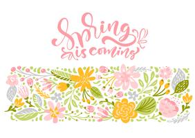 Carte de voeux Fleur Vector avec texte Le printemps arrive