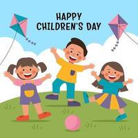 enfants heureux célébrant la journée des enfants vecteur