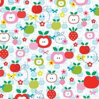 modèle de pomme aux fraises sur fond blanc vecteur