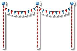 modèle d'autocollant avec des poteaux de décoration de drapeau pour la fête foraine isolée vecteur