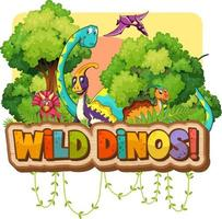 typographie de mot de dinos sauvages avec personnage de dessin animé de groupe de dinosaures vecteur