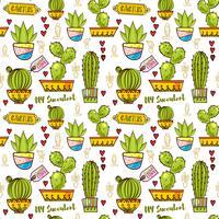 Modèle sans couture de cactus et de plantes succulentes en pots.