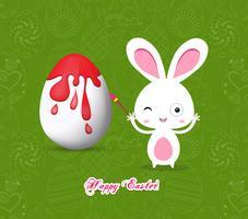 Joyeuses Pâques avec des oeufs de lapin peinture colorée