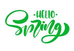 Calligraphie lettrage phrase Bonjour printemps. Texte isolé dessiné à la main de vecteur.