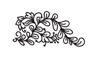 Monoline noir s'épanouir vecteur monogramme scandinave avec des feuilles et des fleurs