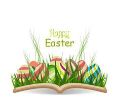 Joyeux printemps oeuf de Pâques avec de l'herbe dans le livre