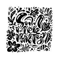 Carte de voeux vecteur fleur d'encre noire avec texte fête de l'été