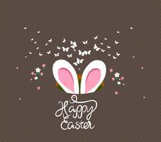 carte de voeux joyeux oeufs de Pâques et lapin