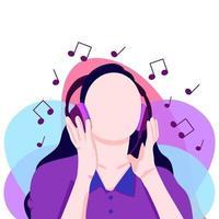fille écoutant de la musique au casque vecteur