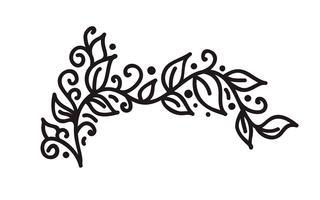 Monoline noir s'épanouir vector vintage monogramme avec feuilles et fleurs
