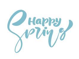 Calligraphie lettrage phrase joyeux printemps vecteur