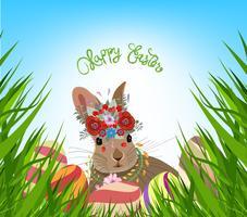 oeufs de Pâques printemps fond d'herbe fraîche