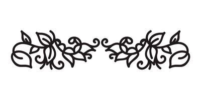 Monoline Vintage s'épanouir vecteur monogramme scandinave avec feuilles et fleurs