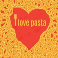 Cœur de spaghettis Affiche vecteur