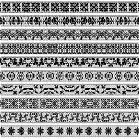 motifs de bordure de dentelle noire vecteur