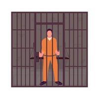 prisonnier de sexe masculin en prison caractère vectoriel de couleur semi-plat