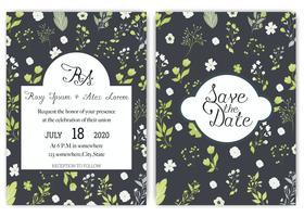 suite de cartes d'invitation de mariage avec des modèles de fleurs de Marguerite.