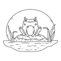 une grenouille dans un marais. crapaud est assis sur un rocher. vecteur