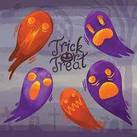 ensemble d'aquarelle peinte halloween day, trick or treat clipart vecteur