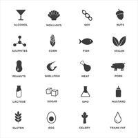 Allergen icons set. vecteur