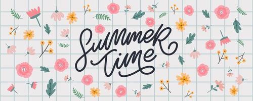 bannière de temps de vente d'été avec vecteur de lettre de fleurs