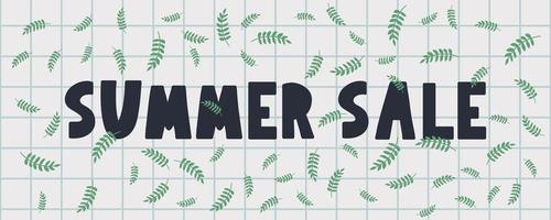 bannière de vente d'été avec vecteur de lettre de fleurs