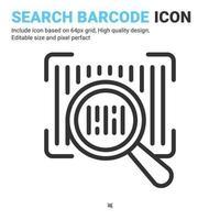 rechercher un vecteur d'icône de code-barres avec un style de contour isolé