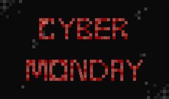 Bannière Cyber Monday. Jour de vente dans les magasins en ligne. Pixel Flat Illustration
