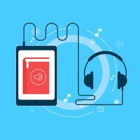 Bannière de livre audio en ligne. Illustration de plat Vector