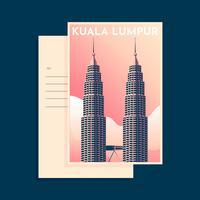 Tour Petronas Kuala Lumpur Vintage Postacard Tempalte vecteur
