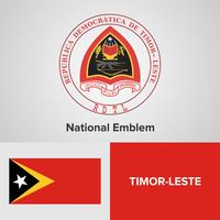 Emblème national du Timor-Leste, carte et drapeau